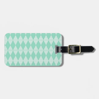 Mint Triangle - Diamond pattern with white stripes Tag For Luggage