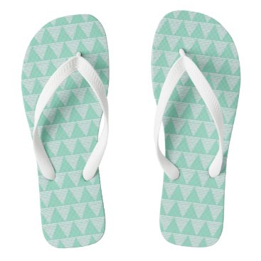 Beach Themed Mint triangle pattern white stripes Flipflop