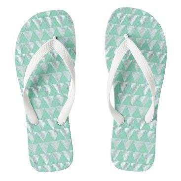 Beach Themed Mint triangle pattern white stripes Flipflop Flip Flops