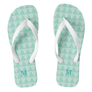 Beach Themed Mint triangle pattern white stripes Monogram Flip Flops