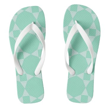 Beach Themed Mint triangle - star pattern white stripe Flipflop Flip Flops