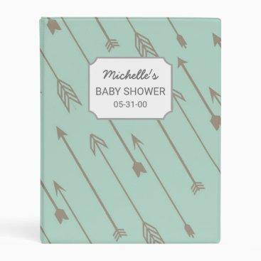 Toddler & Baby themed Mint Tribal Arrows Baby Shower album mini binder
