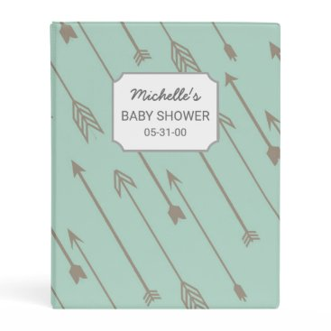 USA Themed Mint Tribal Arrows Baby Shower album mini binder