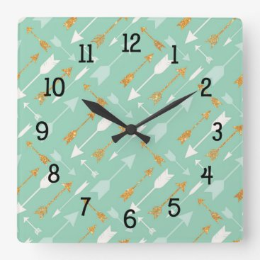 Aztec Themed Mint Tribal Arrows bedroom nursery decor Square Wall Clock