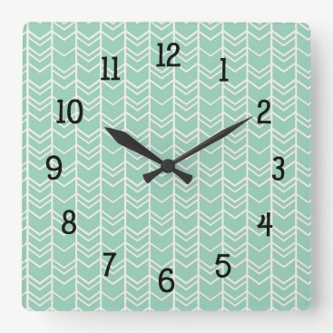 Aztec Themed Mint Tribal Chevron bedroom nursery decor Square Wall Clock