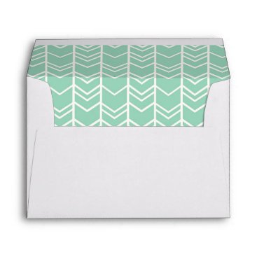 Aztec Themed Mint Tribal Chevron lined, coordinating, matching Envelope