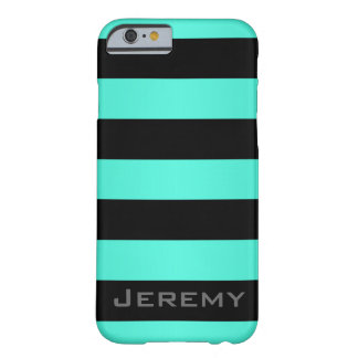 Mint Turquoise and Black Stripes Pattern Barely There iPhone 6 Case