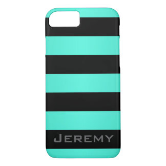 Mint Turquoise and Black Stripes Pattern iPhone 8/7 Case