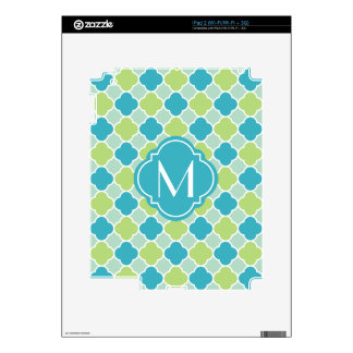 Mint Turquoise and Green Quatrefoil Pattern Decal For iPad 2