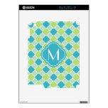 Mint Turquoise and Green Quatrefoil Pattern Decals For iPad 2