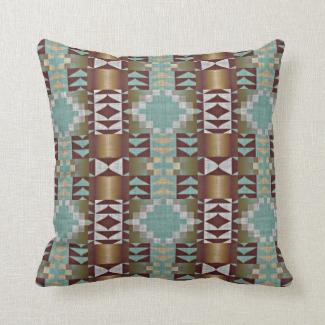 Mint Turquoise Green Caramel Brown Mosaic Pattern
