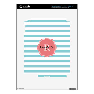 Mint Turquoise Stripes Personalized Decals For iPad 3