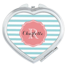 Mint Turquoise Stripes Personalized Makeup Mirror