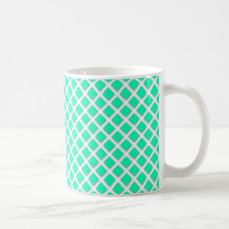 Mint Turquoise Tilted Squares Modern Pattern Coffee Mug
