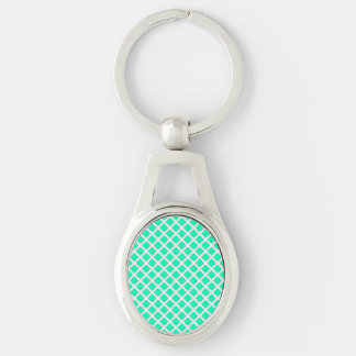 Mint Turquoise Tilted Squares Modern Pattern Keychain