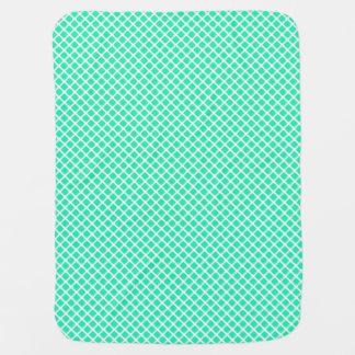 Mint Turquoise Tilted Squares Modern Pattern Swaddle Blanket