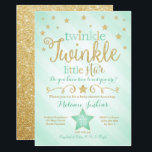 "Mint Twinkle Little Star Baby Shower Invitation<br><div class=""desc"">This mint green twinkle twinkle little star is perfect for your gender neutral baby shower.</div>"