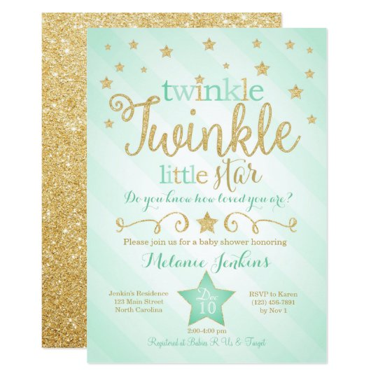 Mint Twinkle Little Star Baby Shower Invitation Zazzle