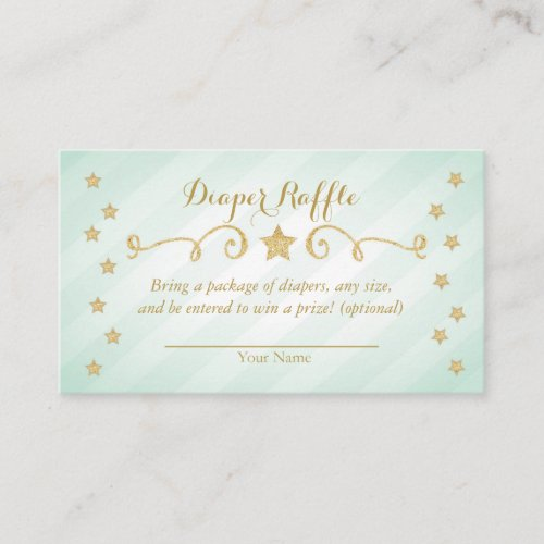 Mint Twinkle Little Star Diaper Raffle Card