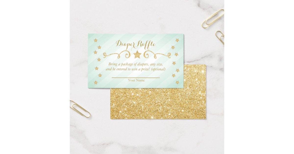 Mint Twinkle Little Star Diaper Raffle Invitation