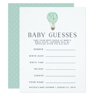 Mint | Up in the Air Baby Shower Guessing Game Card