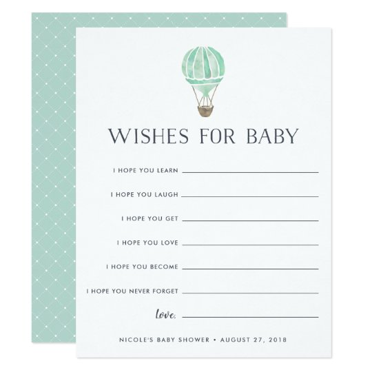 mint up in the air baby shower wishes card
