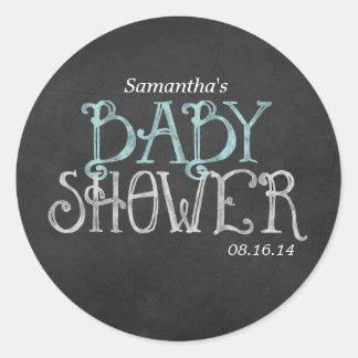 Mint Vintage Chalkboard Baby Shower Classic Round Sticker