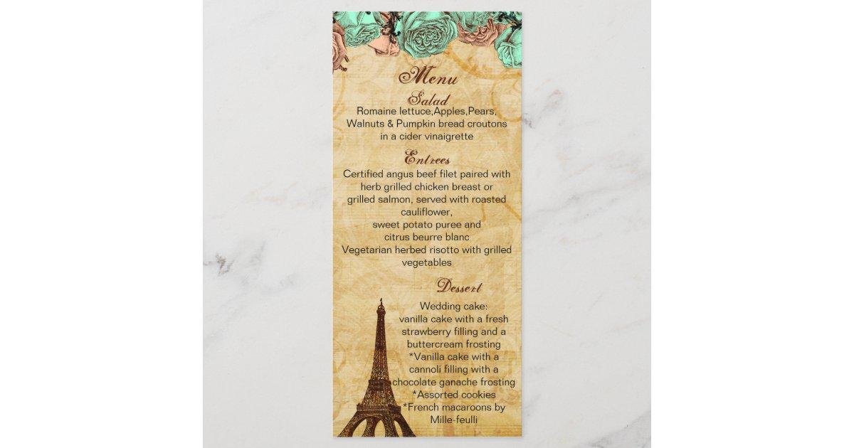 mint vintage eiffel tower Paris wedding menu cards | Zazzle.com