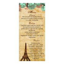 mint vintage eiffel tower Paris wedding menu cards