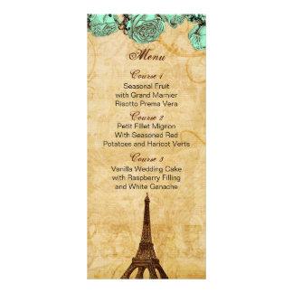 mint vintage eiffel tower Paris wedding menu cards Custom Rack Cards