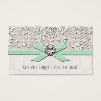 Mint Vintage Lace Pearl Glamour Lingerie Size Card