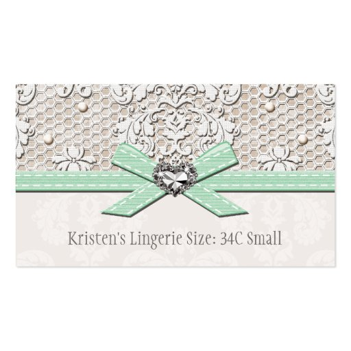 Mint Vintage Lace Pearl Glamour Lingerie Size Card Business Card