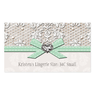 Mint Vintage Lace Pearl Glamour Lingerie Size Card Double-Sided Standard Business Cards (Pack Of 100)