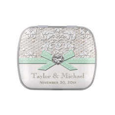 Mint Vintage Lace Pearls Glamour Wedding Favor Jelly Belly Candy Tin at Zazzle