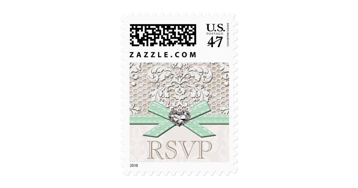 Mint vintage lace rsvp wedding postage stamps zazzle for Wedding rsvp cards stamps