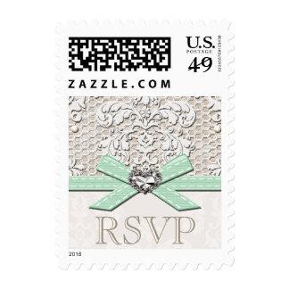 Mint Vintage Lace RSVP Wedding Postage Stamps