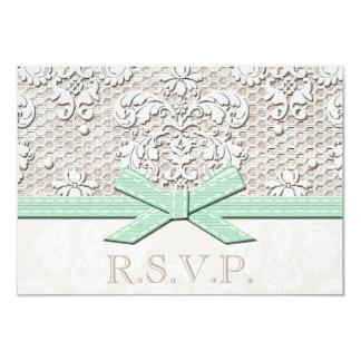 Mint Vintage Lace RSVP Wedding Response Cards