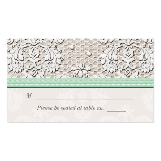 Mint Vintage Lace Wedding Seating Place Cards Business Card