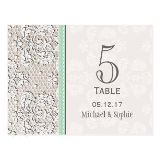 Mint Vintage Lace Wedding Table Number Card