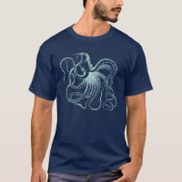 Mint Vintage Octopus Illustration T-Shirt
