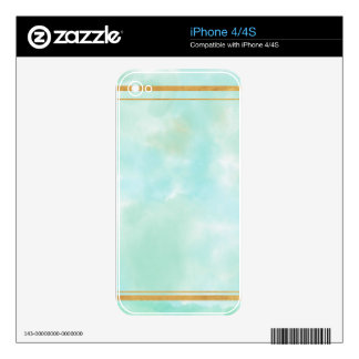 mint water colour,faux gold preppy square pattern decals for iPhone 4