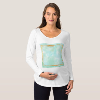 mint water colour,faux gold preppy square pattern, maternity T-Shirt