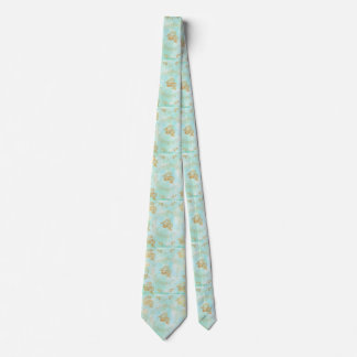 mint,water colour,gold,hand painted,trendy,modern, neck tie