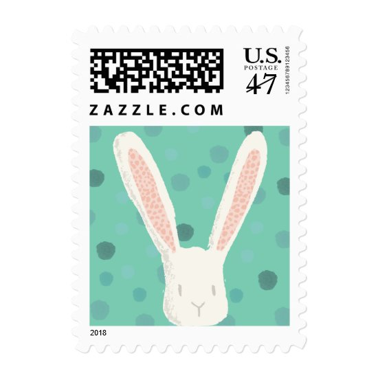 Mint Watercolor Easter Bunny Postage