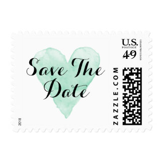 Mint watercolor heart save the date wedding stamps