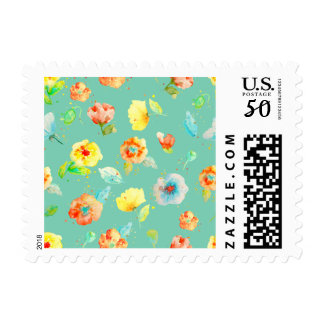 Mint Watercolor Poppies Postage