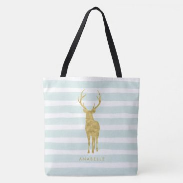 heartlocked Mint Watercolor Stripes and Faux Gold Deer Tote Bag