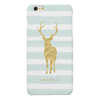Mint Watercolor Stripes and Gold Deer Matte iPhone 6 Plus Case
