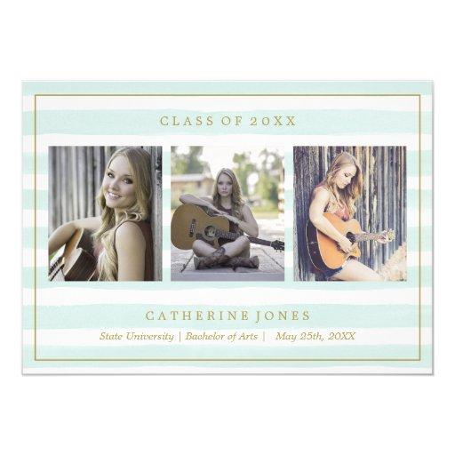 Mint Watercolor Stripes Photo Graduation Card