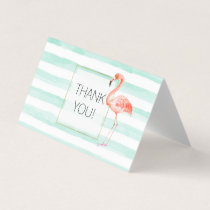 Mint Watercolor Stripes Pink Flamingo Thank you